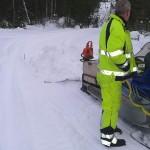 Minst 1 kubimeter snö på armeringsmattan vid Hyddan, +6 grader